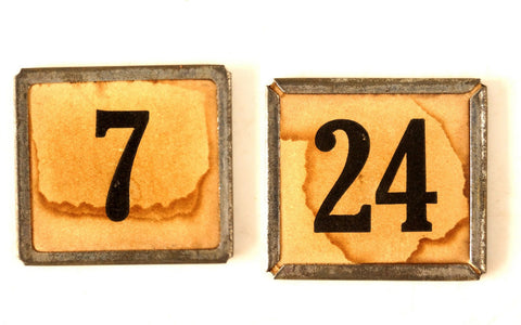 "Vintage Metal Number Square Tile ""7 / 24"", Double-Sided (c.1920s) Sepia - ThirdShift Vintage"