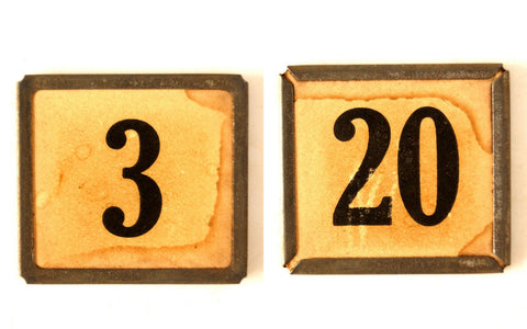 "Vintage Metal Number Square Tile ""3 / 20"", Double-Sided (c.1920s) Sepia - ThirdShiftVintage.com"
