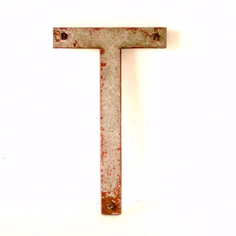 "Vintage Industrial Metal Letter ""T"" Marquee Sign, 10 inches tall (c.1950s) N2 - ThirdShiftVintage.com"