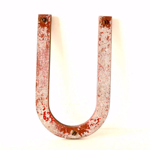 "Vintage Industrial Metal Letter ""U"" Marquee Sign, 10 inches tall (c.1950s) N2 - thirdshift"