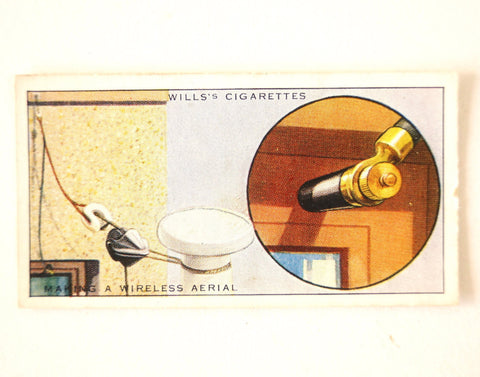 "Vintage ""Household Hints"" Cigarette Card #49 ""Making a Wireless Aerial"" (c.1936) - ThirdShift Vintage"