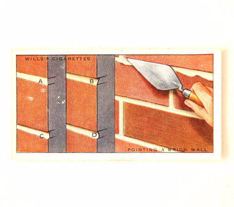 "Vintage ""Household Hints"" Cigarette Card #45 ""Pointing a Brick Wall"" (c.1936) - ThirdShiftVintage.com"