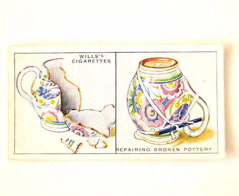 "Vintage ""Household Hints"" Cigarette Card #37 ""Repairing Broken Pottery"" (c.1936) - ThirdShiftVintage.com"