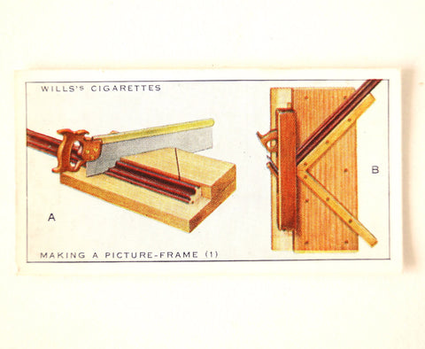 "Vintage ""Household Hints"" Cigarette Card #32 ""Making a Picture Frame 1"" (c.1936) - ThirdShiftVintage.com"