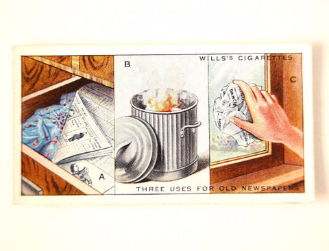 "Vintage ""Household Hints"" Cigarette Card #25 ""Three Uses for Old Newspapers"" (c.1936) - ThirdShiftVintage.com"