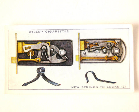 "Vintage ""Household Hints"" Cigarette Card #22 ""New Springs to Locks 2"" (c.1936) - ThirdShiftVintage.com"