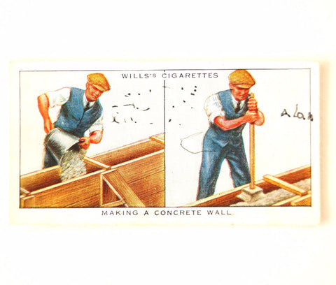 "Vintage ""Household Hints"" Cigarette Card #44 ""Making a Concrete Wall"" (c.1936) - ThirdShift Vintage"