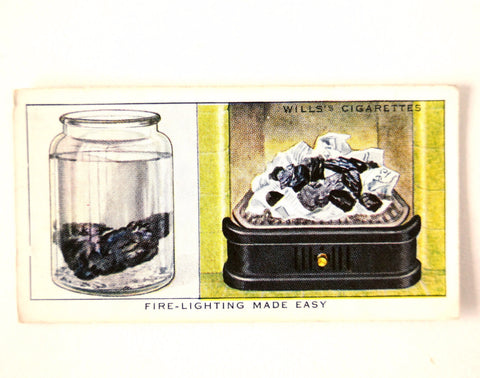 "Vintage ""Household Hints"" Cigarette Card #13 ""Fire Lighting Made Easy"" (c.1936) - ThirdShiftVintage.com"