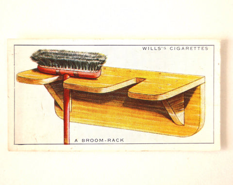 "Vintage ""Household Hints"" Cigarette Card #3 ""A Broom Rack"" (c.1936) - ThirdShiftVintage.com"