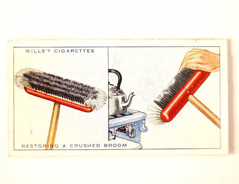 "Vintage ""Household Hints"" Cigarette Card #2 ""Restoring a Crushed Broom"" (c.1936) - ThirdShiftVintage.com"