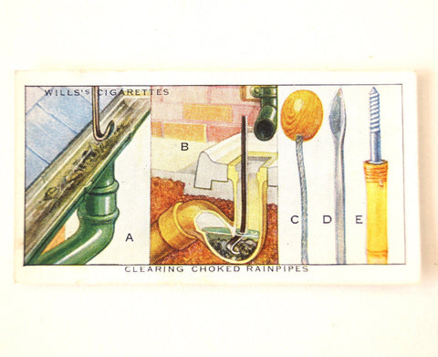 "Vintage ""Household Hints"" Cigarette Card #38 ""Clearing Choked Rainpipes"" (c.1936) - ThirdShiftVintage.com"