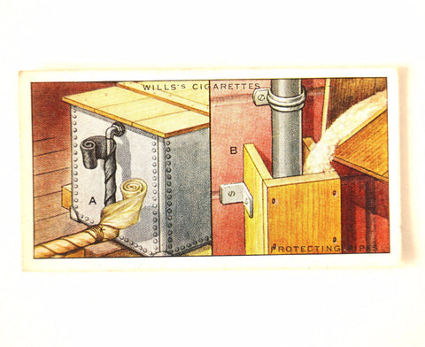 "Vintage ""Household Hints"" Cigarette Card #35 ""Protecting Pipes"" (c.1936) - ThirdShiftVintage.com"