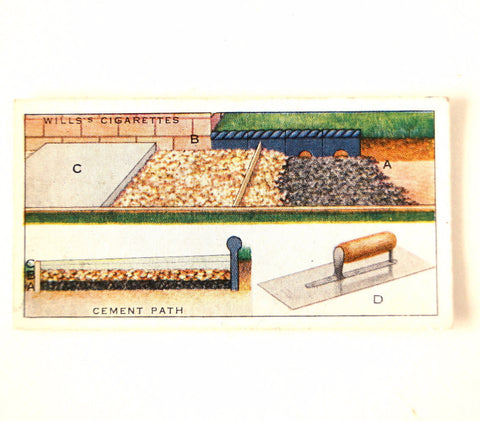 "Vintage ""Household Hints"" Cigarette Card #30 ""Cement Path"" (c.1936) - thirdshift"