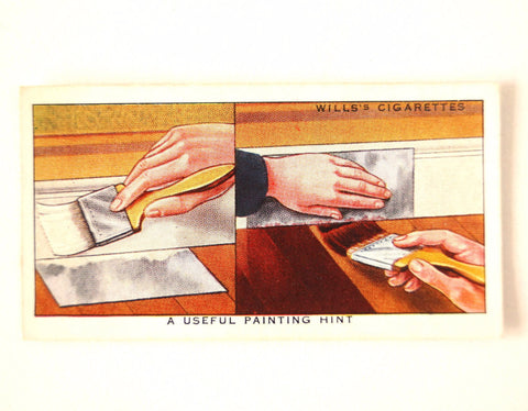 "Vintage ""Household Hints"" Cigarette Card #29 ""A Useful Painting Hint"" (c.1936) - ThirdShiftVintage.com"