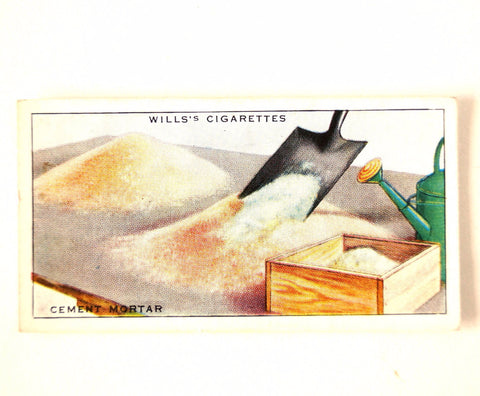 "Vintage ""Household Hints"" Cigarette Card #24 ""Cement Mortar"" (c.1936) - thirdshift"