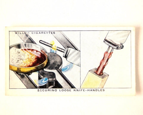 "Vintage ""Household Hints"" Cigarette Card #23 ""Securing Loose Knife Handles"" (c.1936) - ThirdShift Vintage"