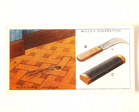 "Vintage ""Household Hints"" Cigarette Card #20 ""Repairing Linoleum"" (c.1936) - ThirdShift Vintage"