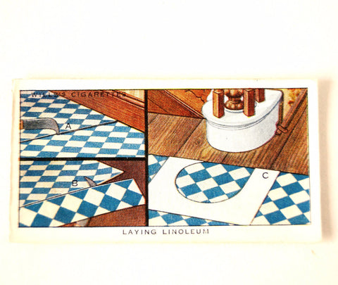 "Vintage ""Household Hints"" Cigarette Card #19 ""Laying Linoleum"" (c.1936) - ThirdShiftVintage.com"