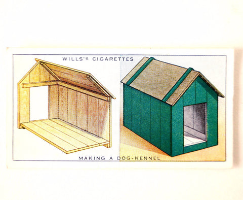 "Vintage ""Household Hints"" Cigarette Card #10 ""Making a Dog Kennel"" (c.1936) - ThirdShift Vintage"
