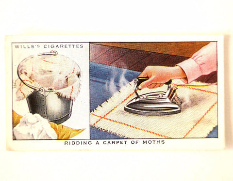 "Vintage ""Household Hints"" Cigarette Card #4 ""Ridding a Carpet of Moths"" (c.1936) - ThirdShiftVintage.com"
