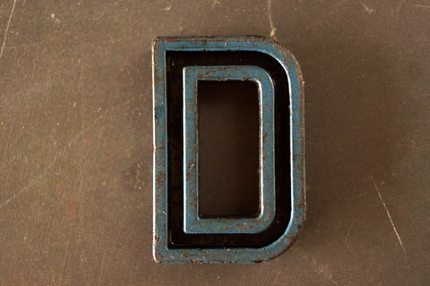 "Vintage Industrial Letter ""D"" Black with Blue Paint, 2"" tall (c.1940s) - thirdshift"