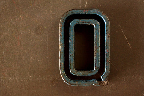 "Vintage Industrial Letter ""Q"" Black with Blue and Green Paint, 2"" tall (c.1940s) - ThirdShift Vintage"