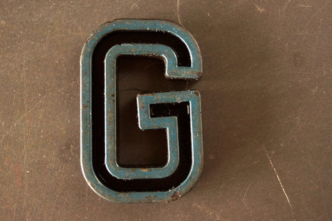 "Vintage Industrial Letter ""G"" Black with Blue and Green Paint, 2"" tall (c.1940s) - ThirdShiftVintage.com"
