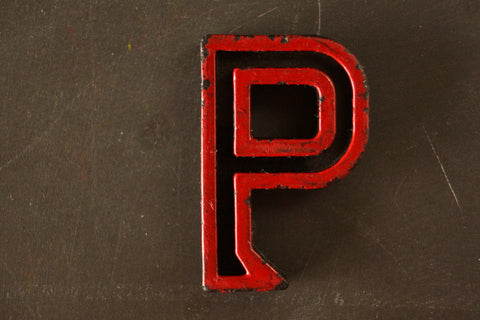 "Vintage Industrial Letter ""P"" Black with Red and Green Paint, 2"" tall (c.1940s) - ThirdShiftVintage.com"