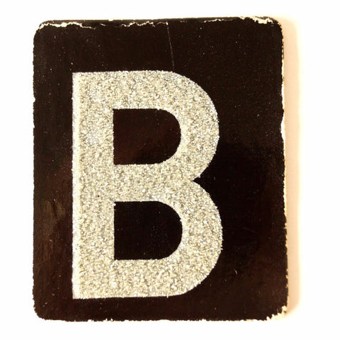 "Vintage Alphabet Letter ""B"" Card with Textured Surface in Black and White (c.1950s) - ThirdShift Vintage"