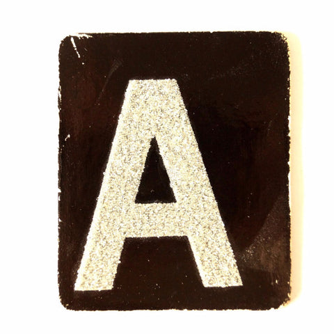 "Vintage Alphabet Letter ""A"" Card with Textured Surface in Black and White (c.1950s) - ThirdShiftVintage.com"