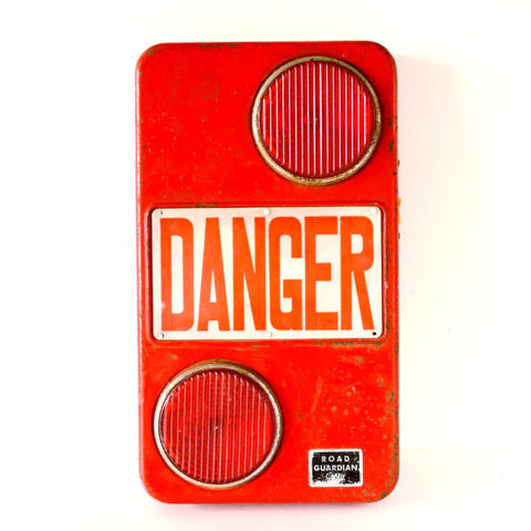 Vintage Danger Flashing Safety Light Sign in Red by Road Guardian, SWANK (c.1950s) - ThirdShift Vintage
