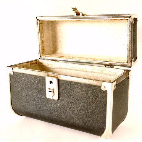 Vintage Black Train Case / Hardsided Purse with Clear Handle (c.1940s) - ThirdShiftVintage.com
