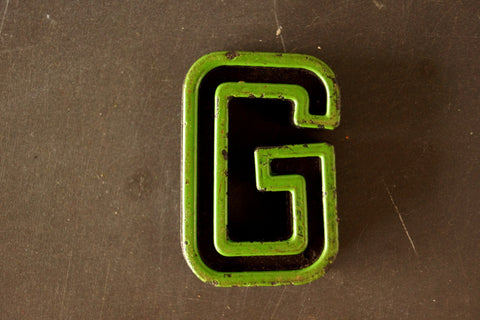 "Vintage Industrial Letter ""G"" Black with Green and Red Paint, 2"" tall (c.1940s) - thirdshift"