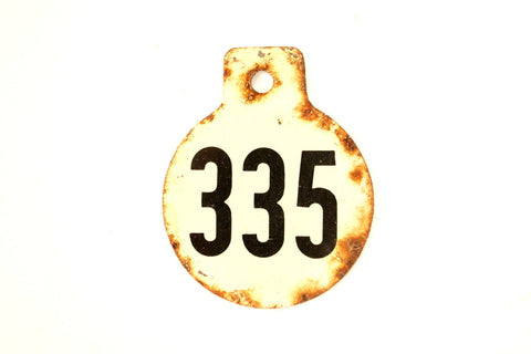 Vintage Metal Cow Tag / Livestock Tag, #335 Double-Sided Numbered Tag (c.1950s) - thirdshift