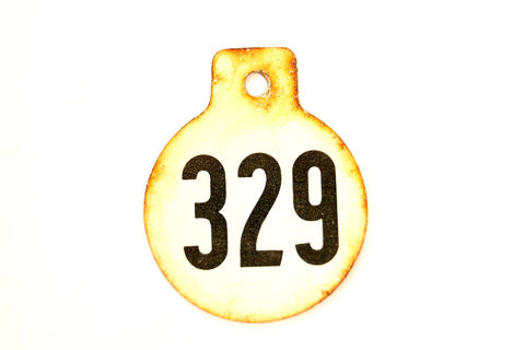 Vintage Metal Cow Tag / Livestock Tag, #329 Double-Sided Numbered Tag (c.1950s) - thirdshift