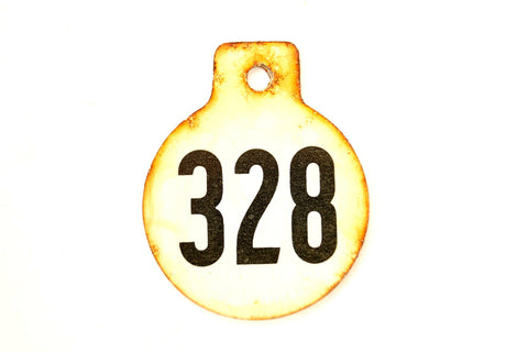 Vintage Metal Cow Tag / Livestock Tag, #328 Double-Sided Numbered Tag (c.1950s) - thirdshift