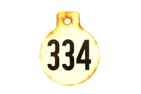 Vintage Metal Cow Tag / Livestock Tag, #334 Double-Sided Numbered Tag (c.1950s) - ThirdShiftVintage.com