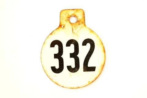 Vintage Metal Cow Tag / Livestock Tag, #332 Double-Sided Numbered Tag (c.1950s) - ThirdShiftVintage.com