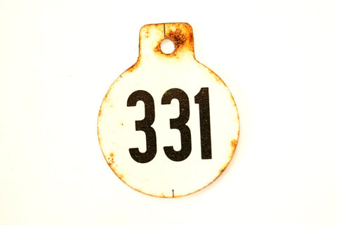 Vintage Metal Cow Tag / Livestock Tag, #331 Double-Sided Numbered Tag (c.1950s) - ThirdShiftVintage.com