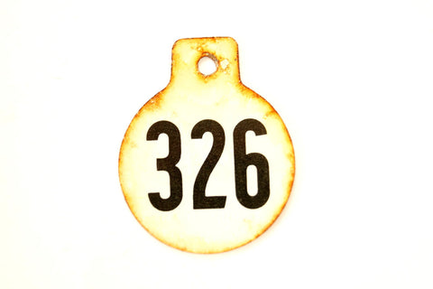 Vintage Metal Cow Tag / Livestock Tag, #326 Double-Sided Numbered Tag (c.1950s) - ThirdShiftVintage.com