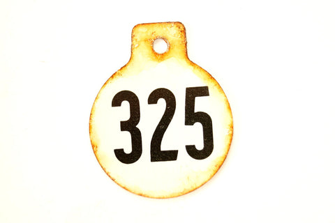 Vintage Metal Cow Tag / Livestock Tag, #325 Double-Sided Numbered Tag (c.1950s) - thirdshift