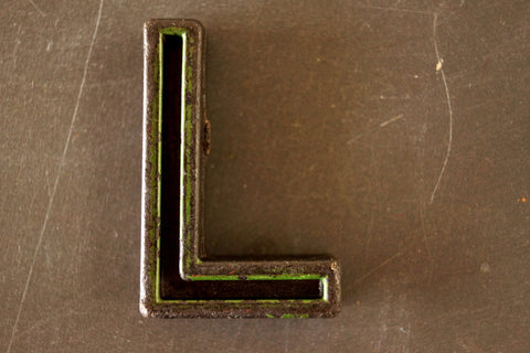 "Vintage Industrial Letter ""L"" Black with Green and Orange Paint, 2"" tall (c.1940s) - ThirdShiftVintage.com"