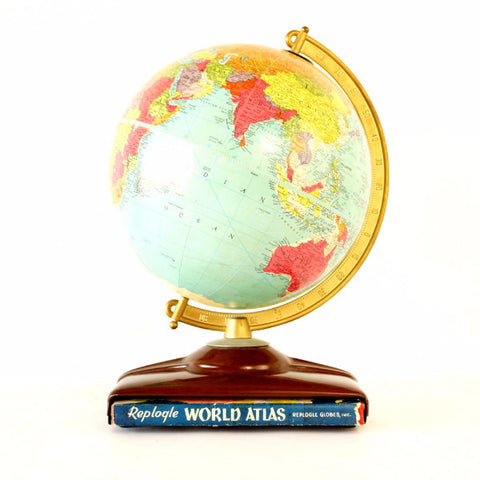 "Vintage Replogle Reference World Globe with Atlas, 10"" diameter (c.1954) - ThirdShiftVintage.com"