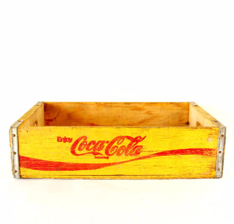 Vintage Coca-Cola Wooden Beverage Crate #1-80, Coke Crate in Yellow and Red (c.1980) - ThirdShift Vintage