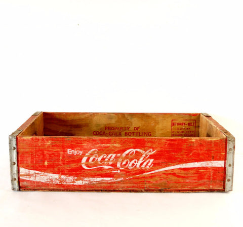 Vintage Coca-Cola Wooden Beverage Crate #4-76, Coke Crate in Red and White (c.1976) - ThirdShift Vintage