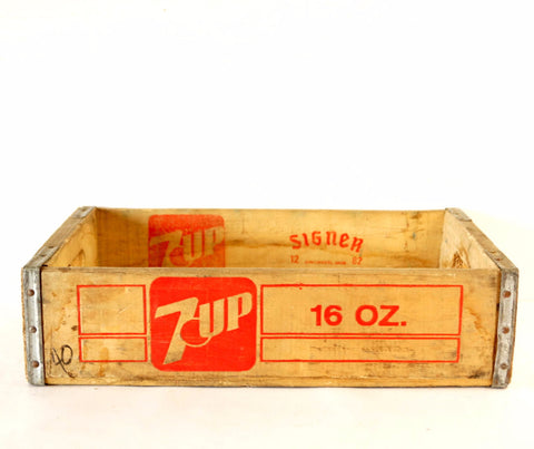 Vintage 7-Up Wooden Beverage Crate #12-82, 7-Up Crate in Red (c.1982) - ThirdShiftVintage.com