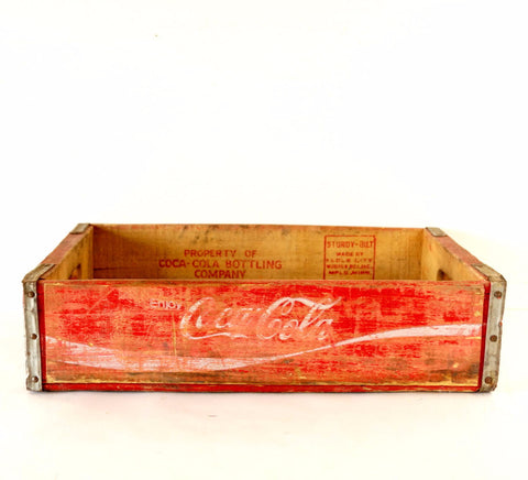 Vintage Coca-Cola Wooden Beverage Crate #7-72, Coke Crate in Red and White (c.1972)