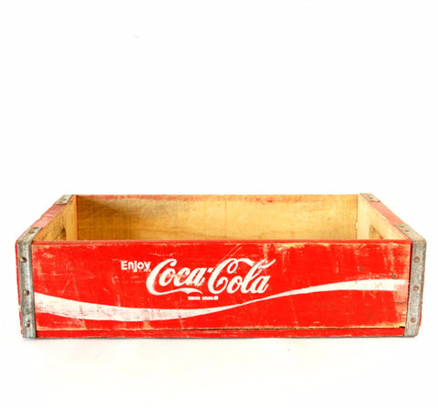 Vintage Coca-Cola Wooden Beverage Crate #8-80, Coke Crate in Red and White (c.1977) - thirdshift