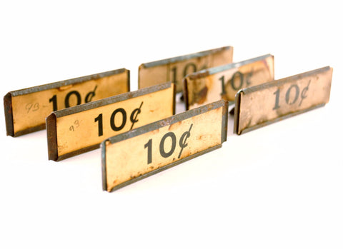 Vintage Metal Price Tag Holder with 10 Cent Price Tag, Set of 6 (c.1900s) - thirdshift