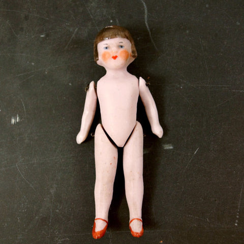 Vintage Jointed Bisque Doll, Molded Brown Hair, Painted Features, Germany (c.1890s) N1 - ThirdShiftVintage.com